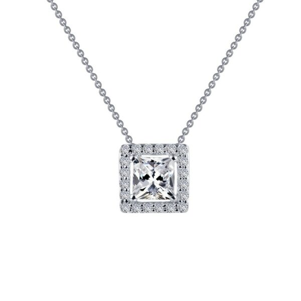Princess-Cut Halo Necklace