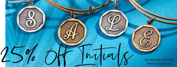 25% off the Initial's Collection by Alex and Ani!