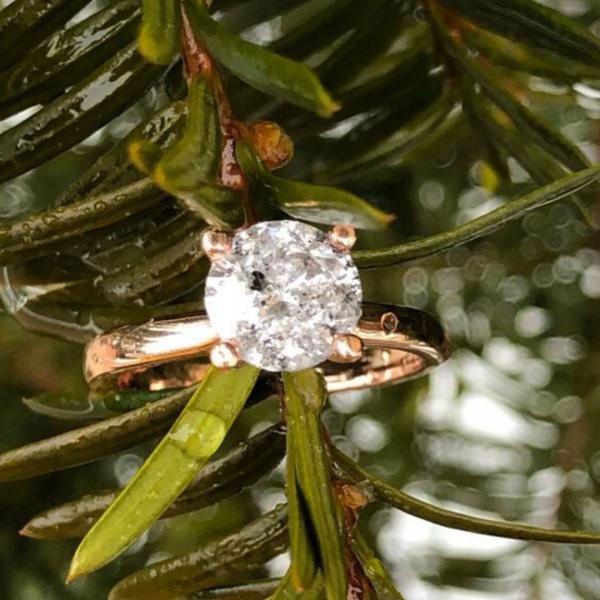 14K Rose Gold Salt and Pepper Diamond Ring